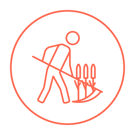 mowing the grass: Man mowing grass with a scythe line icon for web, mobile and infographics. Vector red thin line icon in the circle isolated on white background.