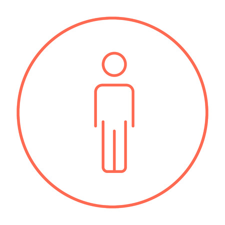 standing in line: Businessman standing  line icon for web, mobile and infographics. Vector red thin line icon in the circle isolated on white background.
