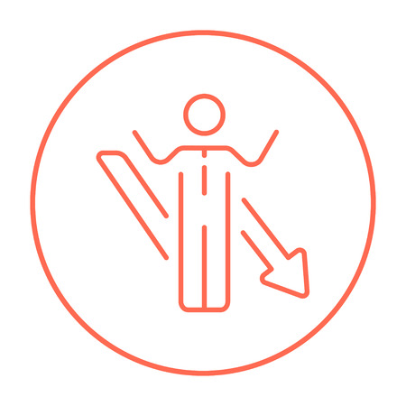 going down: Businessman with raised hands and arrow going down line icon for web, mobile and infographics. Vector red thin line icon in the circle isolated on white background.