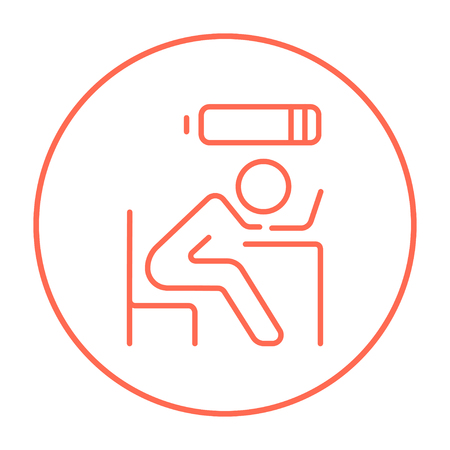 power failure: Tired employee sleeping on workplace on laptop keyboard with low power battery sign over his head line icon for web, mobile and infographics. Vector red thin line icon in the circle isolated on white background. Illustration