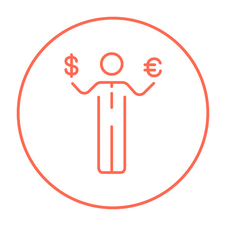 Businessman holding Euro and US dollar symbol line icon for web, mobile and infographics. Vector red thin line icon in the circle isolated on white background. Illustration