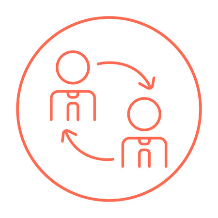 turnover: Staff turnover line icon for web, mobile and infographics. Vector red thin line icon in the circle isolated on white background.
