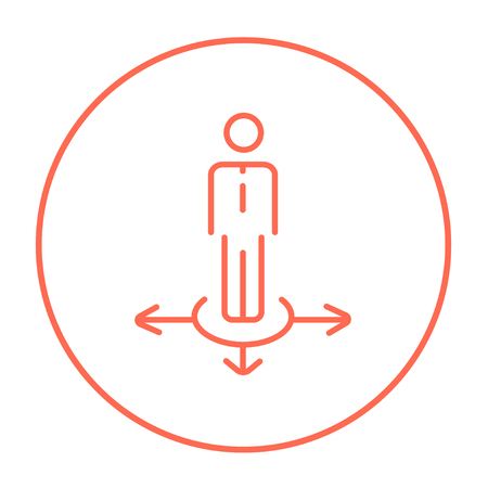 A businessman standing on three alternative ways line icon for web, mobile and infographics. Vector red thin line icon in the circle isolated on white background.