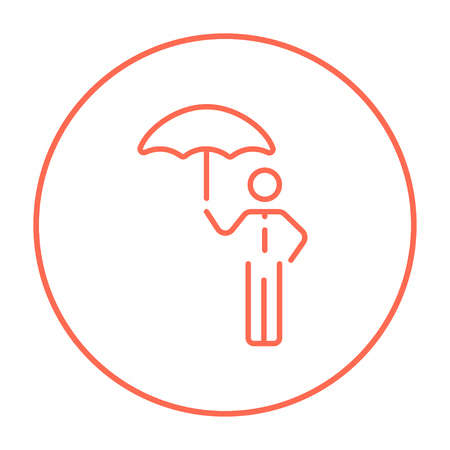 sheltering: Businessman with umbrella line icon for web, mobile and infographics. Vector red thin line icon in the circle isolated on white background.