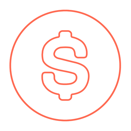 price gain: Dollar symbol line icon for web, mobile and infographics. Vector red thin line icon in the circle isolated on white background. Illustration
