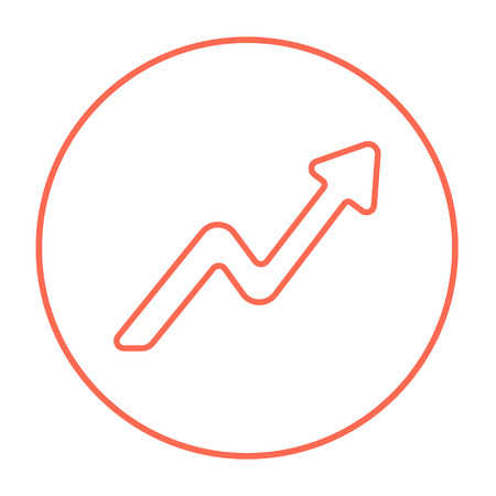Arrow upward line icon for web, mobile and infographics. Vector red thin line icon in the circle isolated on white background.