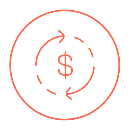 Dollar symbol with arrows around line icon for web, mobile and infographics. Vector red thin line icon in the circle isolated on white background.