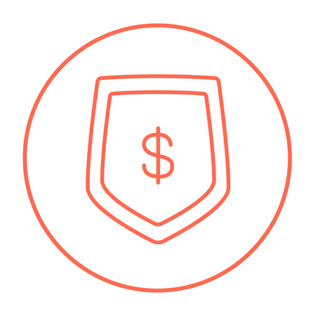 Shield with dollar symbol line icon for web, mobile and infographics. Vector red thin line icon in the circle isolated on white background.