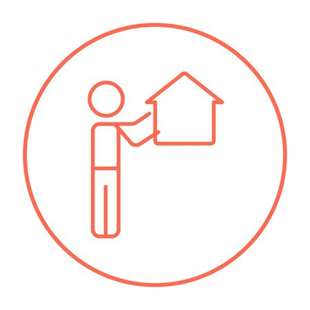 possession: Man pointing at the house line icon for web, mobile and infographics. Vector red thin line icon in the circle isolated on white background. Illustration