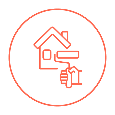 house painter: House with roller for painting line icon for web, mobile and infographics. Vector red thin line icon in the circle isolated on white background.
