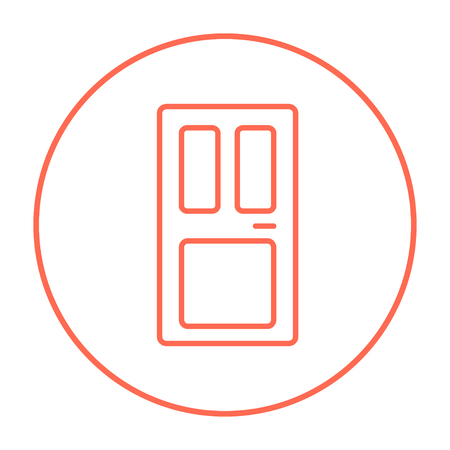 front door: Front door line icon for web, mobile and infographics. Vector red thin line icon in the circle isolated on white background.