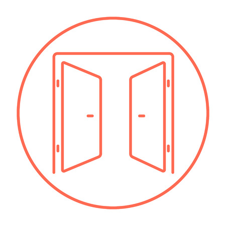 double entry: Open doors line icon for web, mobile and infographics. Vector red thin line icon in the circle isolated on white background.