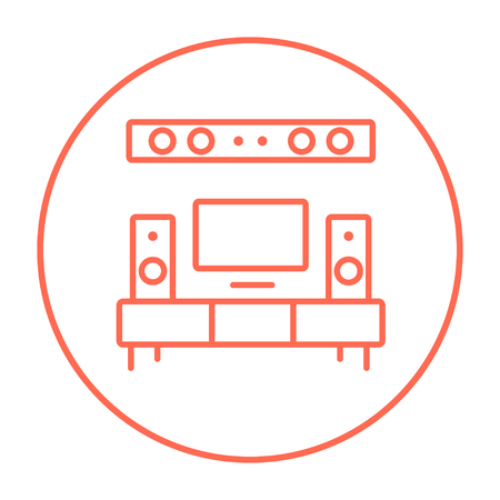 home theater: TV flat screen and home theater line icon for web, mobile and infographics. Vector red thin line icon in the circle isolated on white background. Illustration