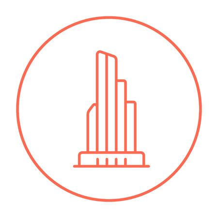 high rise buildings: Skyscraper office building line icon for web, mobile and infographics. Vector red thin line icon in the circle isolated on white background.