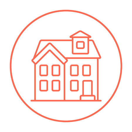 two storey house: Two storey detached house line icon for web, mobile and infographics. Vector red thin line icon in the circle isolated on white background. Illustration