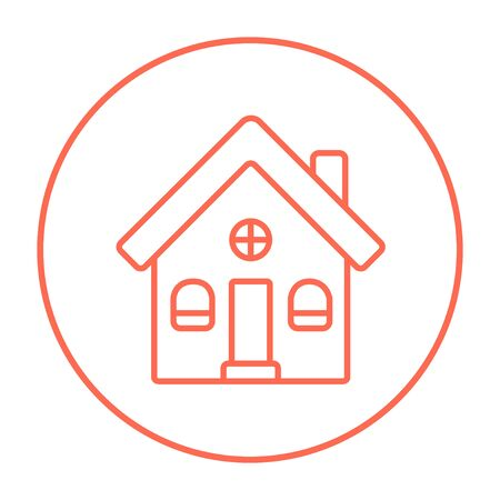 housing project: Detached house line icon for web, mobile and infographics. Vector red thin line icon in the circle isolated on white background.