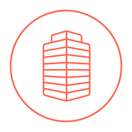multi storey: Office building line icon for web, mobile and infographics. Vector red thin line icon in the circle isolated on white background. Illustration