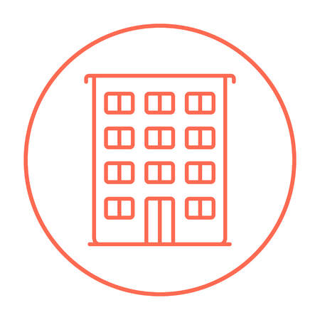 Residential building line icon for web, mobile and infographics. Vector red thin line icon in the circle isolated on white background. Illustration