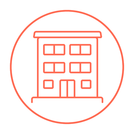 Residential buildings line icon for web, mobile and infographics. Vector red thin line icon in the circle isolated on white background.