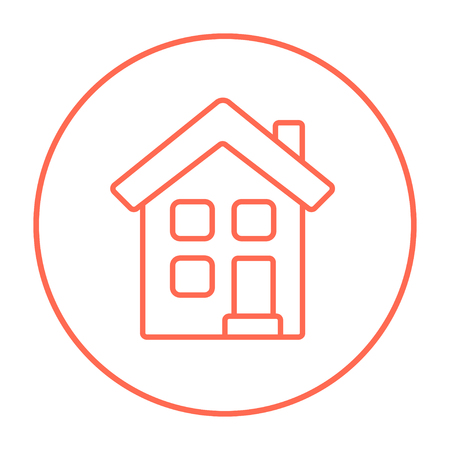 two storey: Two storey detached house line icon for web, mobile and infographics. Vector red thin line icon in the circle isolated on white background. Illustration