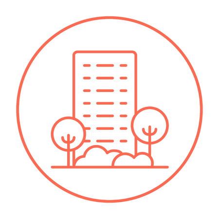 Residential building with trees line icon for web, mobile and infographics. Vector red thin line icon in the circle isolated on white background.