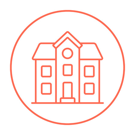 Two storey detached house line icon for web, mobile and infographics. Vector red thin line icon in the circle isolated on white background. Ilustração
