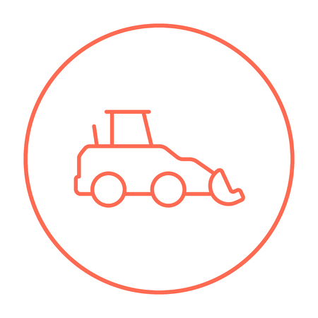 Excavator line icon for web, mobile and infographics. Vector red thin line icon in the circle isolated on white background.