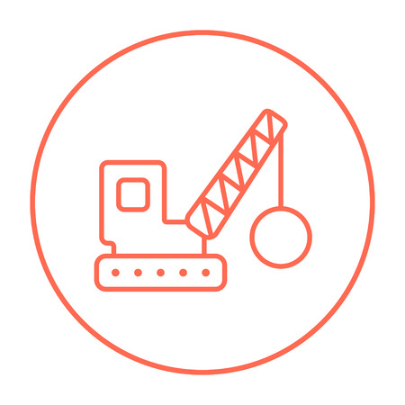 Demolition trailer line icon for web, mobile and infographics. Vector red thin line icon in the circle isolated on white background.  イラスト・ベクター素材