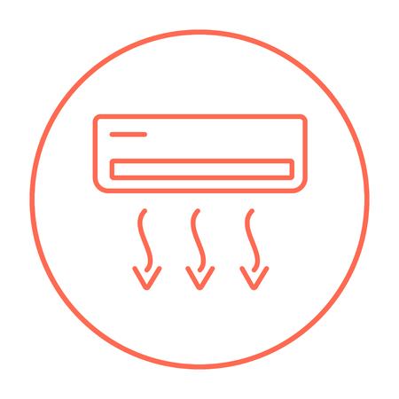 vent: Air conditioner line icon for web, mobile and infographics. Vector red thin line icon in the circle isolated on white background.