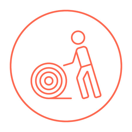 Man with wire spool line icon for web, mobile and infographics. Vector red thin line icon in the circle isolated on white background.