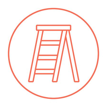 stepladder: Stepladder line icon for web, mobile and infographics. Vector red thin line icon in the circle isolated on white background. Illustration
