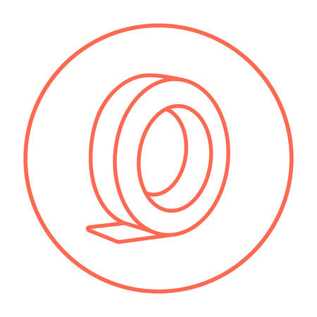 Roll of adhesive tape line icon for web, mobile and infographics. Vector red thin line icon in the circle isolated on white background.