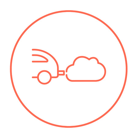 polluting: Car spewing polluting exhaust line icon for web, mobile and infographics. Vector red thin line icon in the circle isolated on white background. Illustration