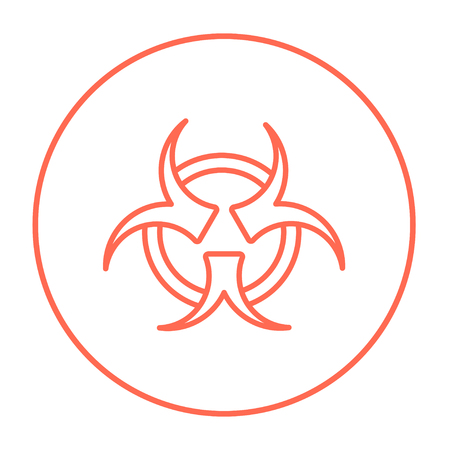 pandemia: Bio hazard sign line icon for web, mobile and infographics. Vector red thin line icon in the circle isolated on white background.