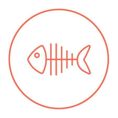 Fish skeleton line icon for web, mobile and infographics. Vector red thin line icon in the circle isolated on white background. Ilustracja