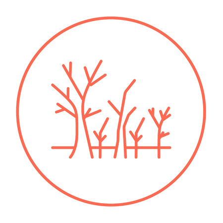 nude outdoors: Tree with bare branches line icon for web, mobile and infographics. Vector red thin line icon in the circle isolated on white background.