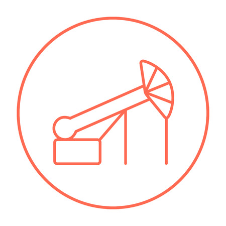 Pump jack oil crane line icon for web, mobile and infographics. Vector red thin line icon in the circle isolated on white background.