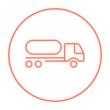 fuel truck: Fuel truck line icon for web, mobile and infographics. Vector red thin line icon in the circle isolated on white background. Illustration