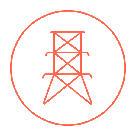 powerlines: Electric tower line icon for web, mobile and infographics. Vector red thin line icon in the circle isolated on white background. Illustration