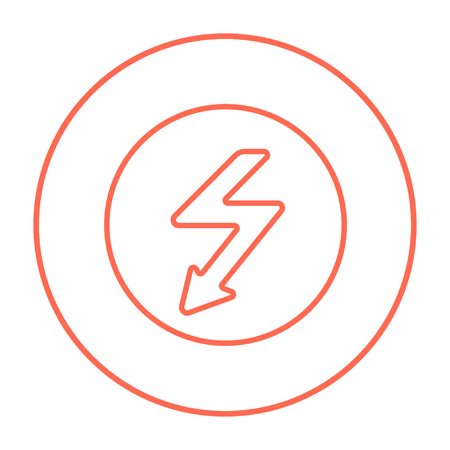 lightning arrow: Lightning arrow going down inside circle line icon for web, mobile and infographics. Vector red thin line icon in the circle isolated on white background.
