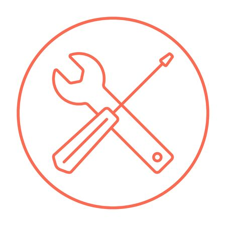 Screwdriver and wrench tools line icon for web, mobile and infographics. Vector red thin line icon in the circle isolated on white background.