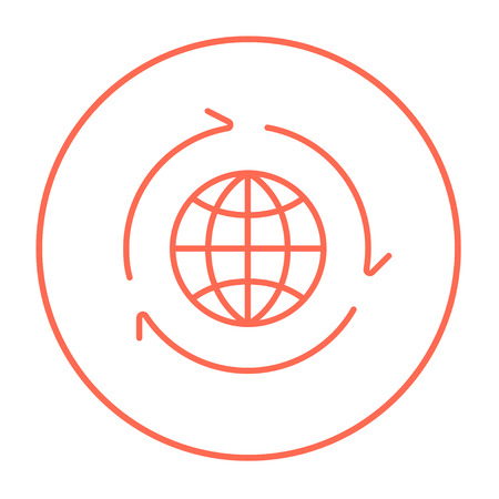 peace movement: Globe with arrows line icon for web, mobile and infographics. Vector red thin line icon in the circle isolated on white background.
