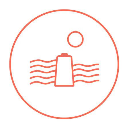 El sol y el agua agitan con el icono de la línea de batería para web, móvil e infografía. Vector el icono rojo delgada línea en el círculo aislado sobre fondo blanco. Foto de archivo - 54561840