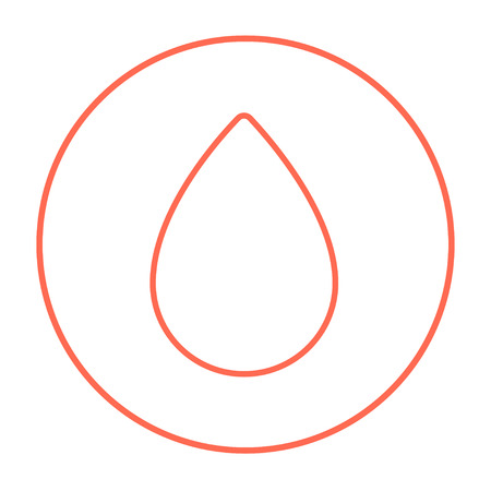 naphtha: Water drop line icon for web, mobile and infographics. Vector red thin line icon in the circle isolated on white background.