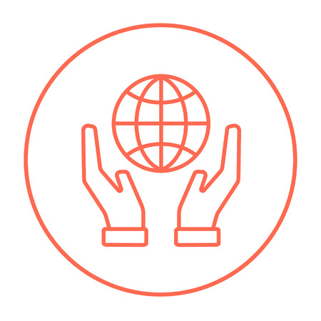 hands holding globe: Two hands holding globe line icon for web, mobile and infographics. Vector red thin line icon in the circle isolated on white background.