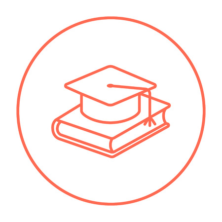Graduation cap laying on book line icon for web, mobile and infographics. Vector red thin line icon in the circle isolated on white background.