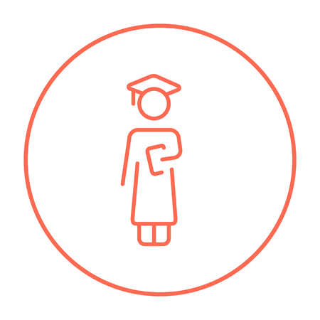 master degree: Graduate line icon for web, mobile and infographics. Vector red thin line icon in the circle isolated on white background.