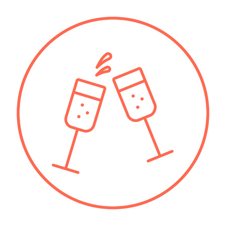 Two glasses of champaign line icon for web, mobile and infographics. Vector red thin line icon in the circle isolated on white background.
