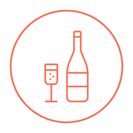 champaign: Bottle of champaign and glass line icon for web, mobile and infographics. Vector red thin line icon in the circle isolated on white background.