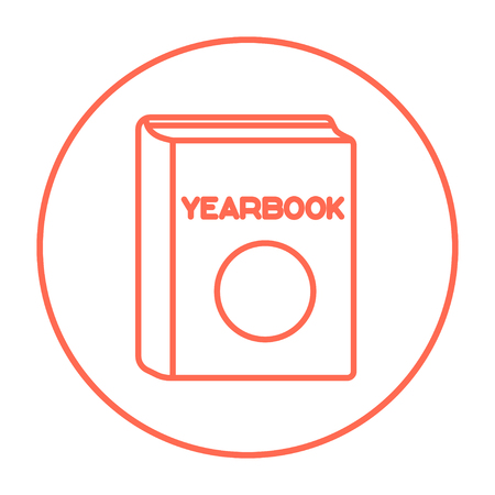 schoolmate: Yearbook line icon for web, mobile and infographics. Vector red thin line icon in the circle isolated on white background. Illustration
